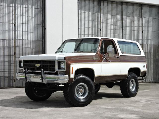 Chevrolet Blazer Truck 1977 White Cordova Brown For Ckr187f125006 4x4 K10 Very Nice Paint New 35 Bfg Tires Clean Interior Runs Great