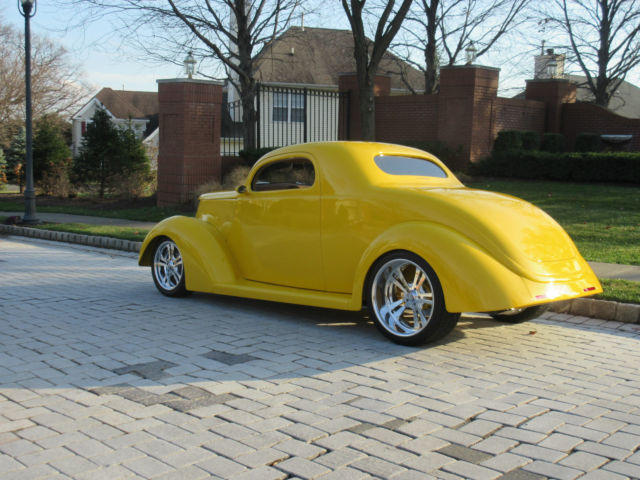 Ford 3 window coupe street rod coupe 1937 yellow for sale for 1937 ford 3 window coupe for sale