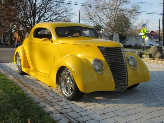 Ford 3 window coupe street rod coupe 1937 yellow for sale for 1937 ford 3 window