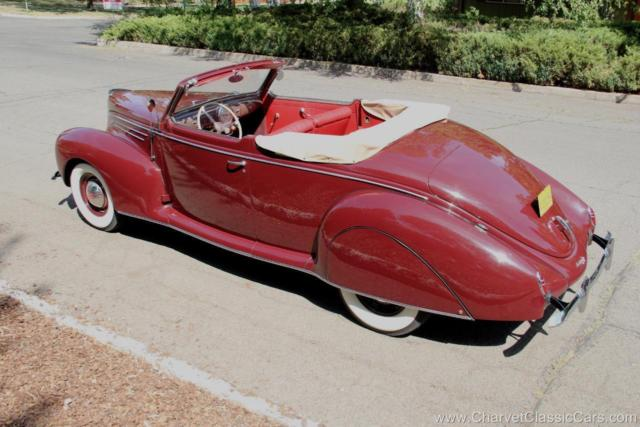 Lincoln Zephyr Convertible 1939 Maroon For Sale 96h76339 1939