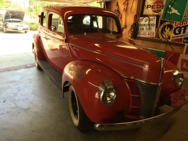 Ford other sedan 1940 rangoon red for sale xfgiven vin for 1940 ford deluxe 4 door sedan
