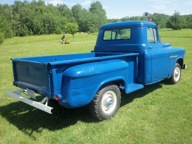 chevrolet other pickups standard cab pickup 1955 blue for sale 1955 chevy 3600 pickup w. Black Bedroom Furniture Sets. Home Design Ideas