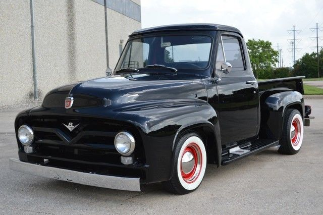 Ford f 100 pickup truck 1955 black for sale f100d5p20252 for Ford truck motors for sale