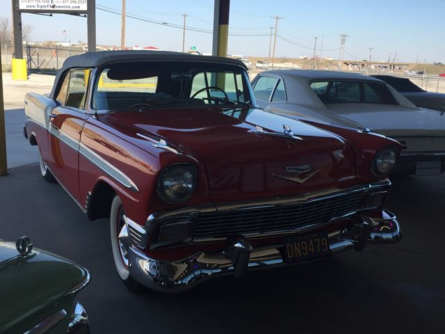 chevrolet bel air 150 210 convertible 1956 matador red for sale vc56j118080 1956 bel air 2 door. Black Bedroom Furniture Sets. Home Design Ideas