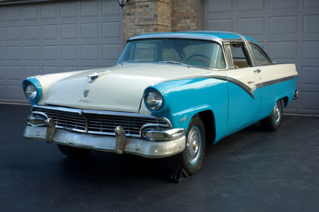 Ford crown victoria coupe 1956 blue and white for sale for 1956 ford crown victoria 2 door coupe