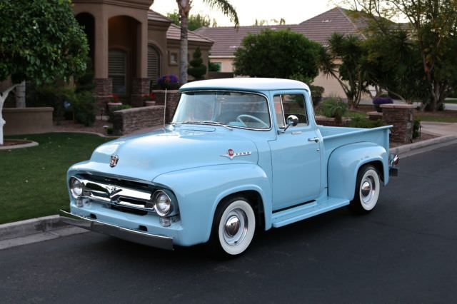 ford f 100 crew cab pickup 1956 blue for sale 1956 ford f100 big window pickup truck 1955 1954 1953. Black Bedroom Furniture Sets. Home Design Ideas