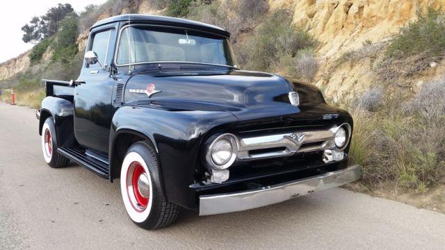 ford f 100 pickup truck 1956 black for sale 1956 ford f100 pickup truck 272 v8 power steering. Black Bedroom Furniture Sets. Home Design Ideas