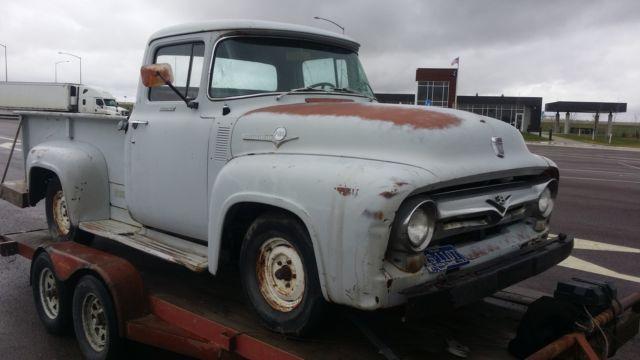 ford f 100 pickup 1956 gray for sale f10v6r 44272 1956 ford f100 pickup truck complete. Black Bedroom Furniture Sets. Home Design Ideas