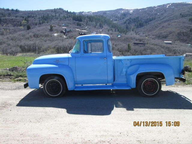 Ford f 100 short bed pickup custom cab 1956 light blue for 1956 f100 big window for sale