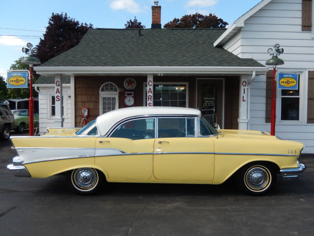 Chevrolet bel air 150 210 sedan 1957 yellow for sale for 1957 chevy 4 door sedan