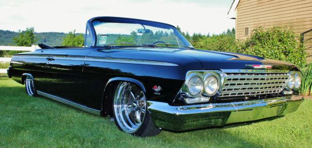 chevrolet impala convertible 1962 black for sale 1962 convertible ss 409 black bagged air ride. Black Bedroom Furniture Sets. Home Design Ideas