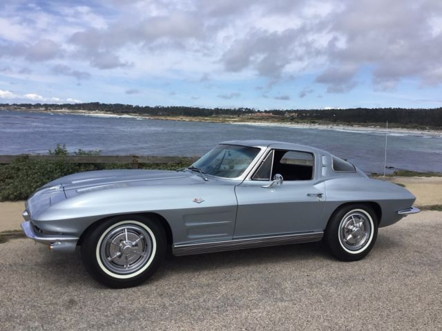 chevrolet corvette coupe 1963 silver blue for sale