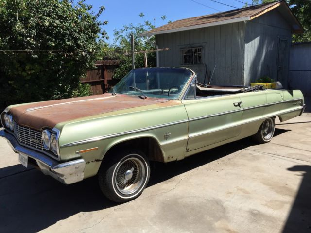 chevrolet impala convertible 1964 green for sale 41867t181268 1964 chevrolet impala convertible. Black Bedroom Furniture Sets. Home Design Ideas