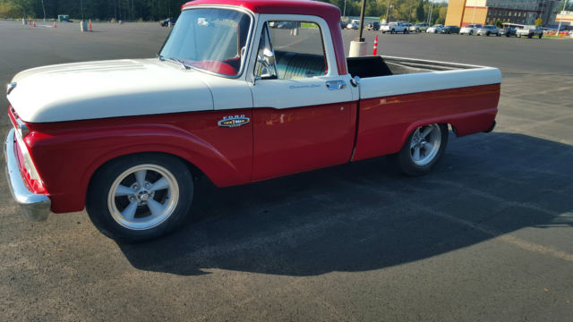 ford f 100 shortbed 1965 red white for sale 1965 ford f100 shortbed 429 top loader 4speed. Black Bedroom Furniture Sets. Home Design Ideas