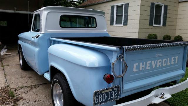 chevrolet c 10 stepside 1966 light blue for sale 1966 chevy c10 stepside pickup truck classic. Black Bedroom Furniture Sets. Home Design Ideas