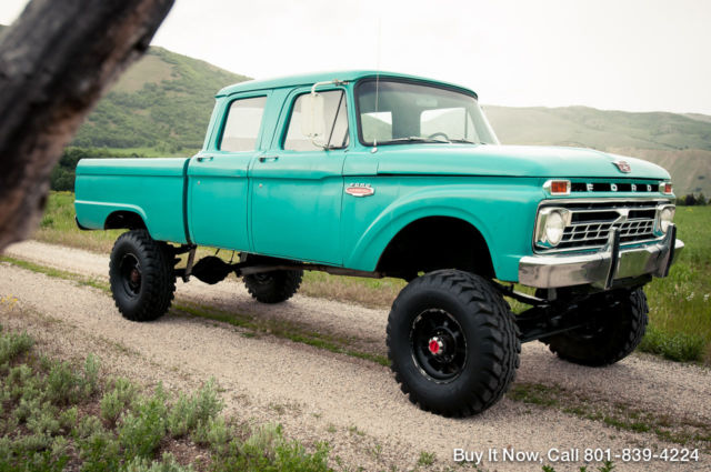 ford f 250 crew cab pickup 1966 green for sale. Black Bedroom Furniture Sets. Home Design Ideas