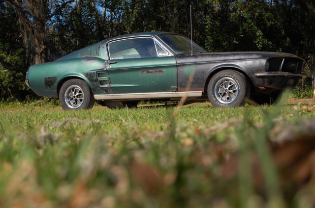 1967 Ford Mustang Fastback Project Car For Sale: Ford Mustang Coupe 1967 Green For Sale. 7F02C148687 1967