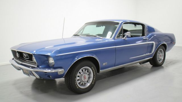 ford mustang hatchback 1968 blue for sale 8t02s204126. Black Bedroom Furniture Sets. Home Design Ideas