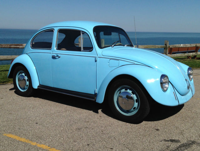 Volkswagen Beetle Clic Sedan 1968 Light Blue For 118447637 Vintage Vw Bug Professional Rebuilt Engine Custom Interior Clean