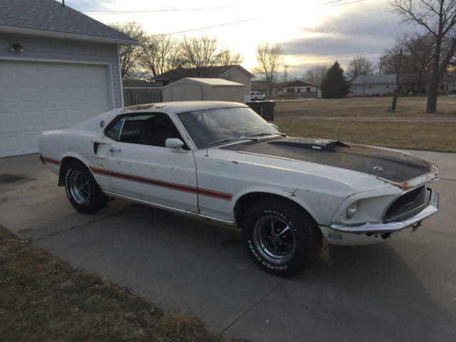 ford mustang fastback 1969 white for sale 9f02s218457 1969 ford mustang mach i project factory. Black Bedroom Furniture Sets. Home Design Ideas