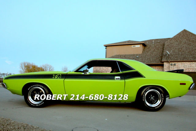 dodge challenger coupe  green  sale  dodge challenger ta rt ralley