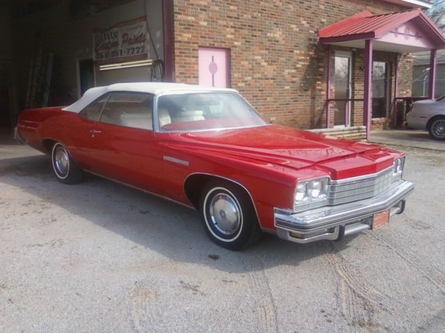 Buick Lesabre Convertible 1975 Red For 4p67j5y110667 Custom 2 Door 5 7l With White Top