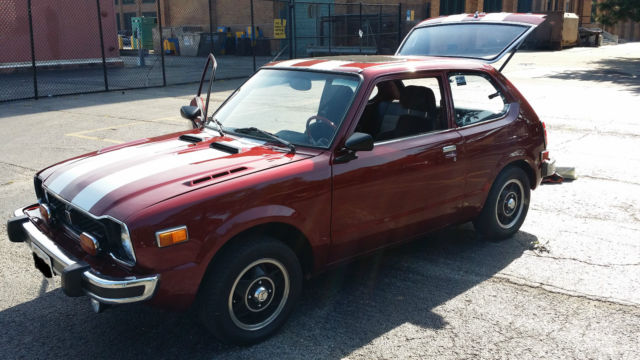 Honda civic hatchback 1975 maroon gray for sale for Honda civic for sale in chicago