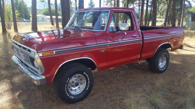 ford f 150 standard cab pickup 1976 red for sale f14yrc76434 1976 ford f 150 ranger 4x4 short. Black Bedroom Furniture Sets. Home Design Ideas