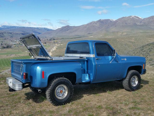 chevrolet c k pickup 1500 stepside 1977 blue for sale 1977 chevy silverado shortbox stepside 4x4. Black Bedroom Furniture Sets. Home Design Ideas