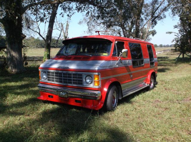 Dodge Ram Van Extended Passenger Van 1979 Red & Silver For Sale