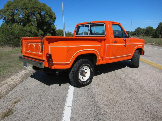ford f 150 standard cab pickup 1981 orange for sale 1ftdf14f6bpa67345 1981 f150 flareside 4x4. Black Bedroom Furniture Sets. Home Design Ideas