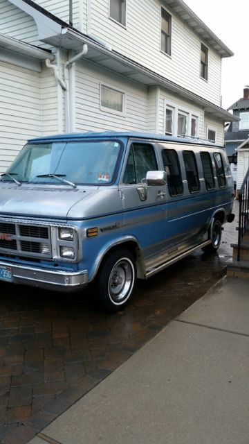 GMC Vandura Full Size TraTech Conversion Van 1984 Silver Blue For Sale 2GDEG25H7E4506037 Chevrolet Low Miles