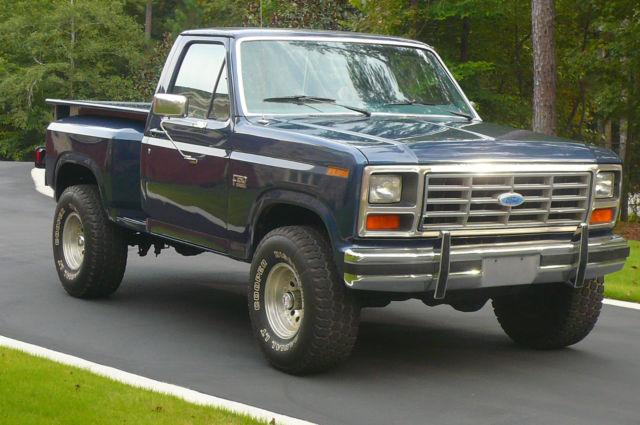 ford f 150 standard cab pickup 1986 blue for sale 1ftef14n4gla37223 1986 ford f150 xl flareside. Black Bedroom Furniture Sets. Home Design Ideas
