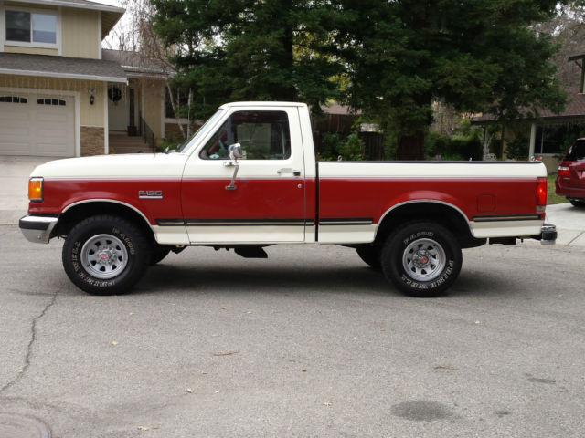 ford f-150 standard cab pickup 1989 white & burgundy for sale
