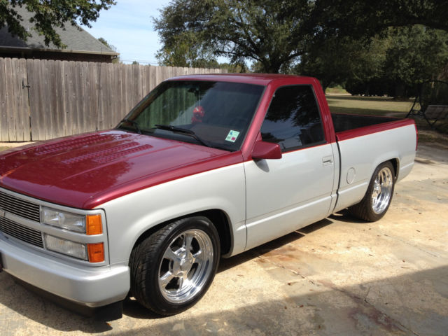 chevrolet silverado 1500 pickup 1990 maroon/silver for sale