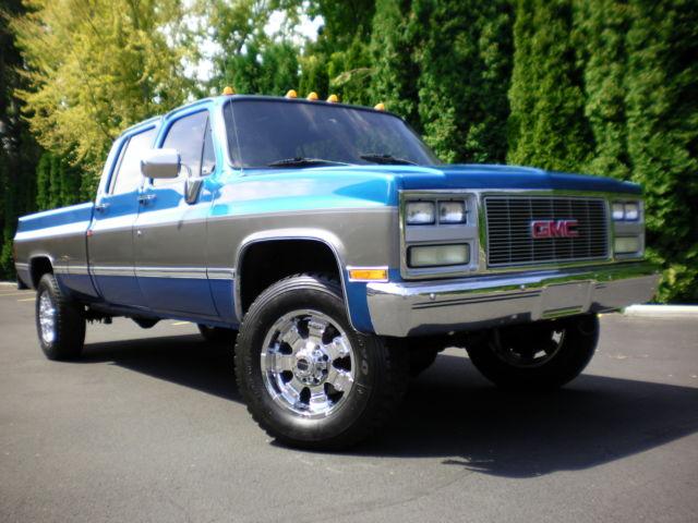 Chevrolet C K Pickup 3500 Crew Cab Pickup 1991 Blue For Sale 1gthv33n8mf700901 1991 Chevy Gmc