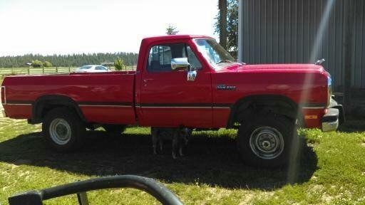 Dodge ram 2500 standard cab pickup 1991 red for sale for Dodge 12 valve cummins motor for sale