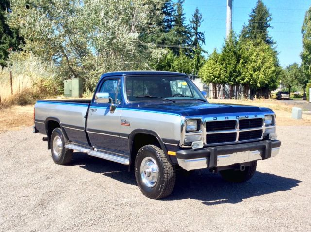 dodge ram 2500 standard cab pickup 1991 blue silver for sale 1b7km26c1ms350547 1991 dodge ram. Black Bedroom Furniture Sets. Home Design Ideas