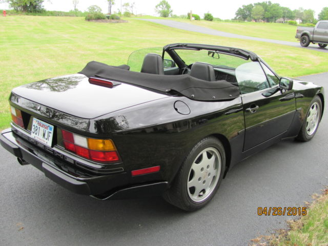 porsche 944 convertible 1991 black for sale wp0cb2942mn440352 1991 porsche 944 s2 cabriolet. Black Bedroom Furniture Sets. Home Design Ideas