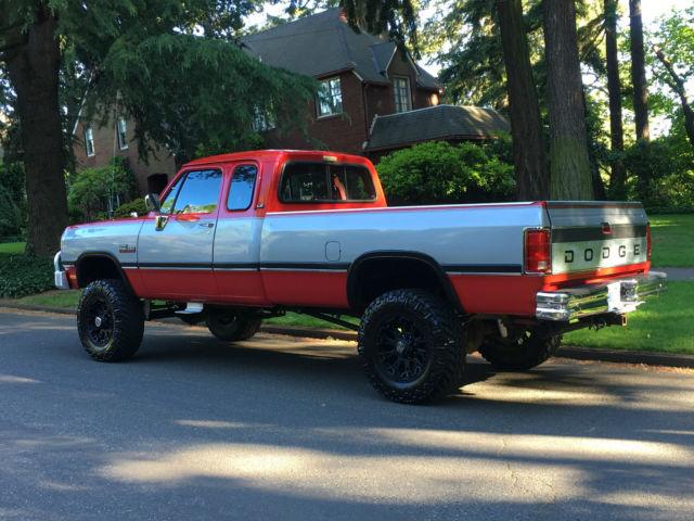 dodge ram 2500 extended cab pickup 1992 red silver for sale 3b7km23c2nm528321 1992 dodge ram. Black Bedroom Furniture Sets. Home Design Ideas