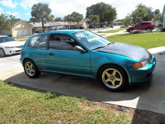 Honda Civic Hatchback 1992 Green For Sale 2hgeh2366nh515745 1992