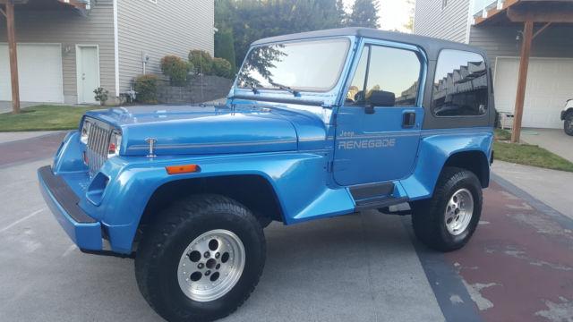 jeep wrangler suv 1992 blue for sale 2j4fy69sxnj525504 1992 jeep wrangler renegade 4x4 sport. Black Bedroom Furniture Sets. Home Design Ideas