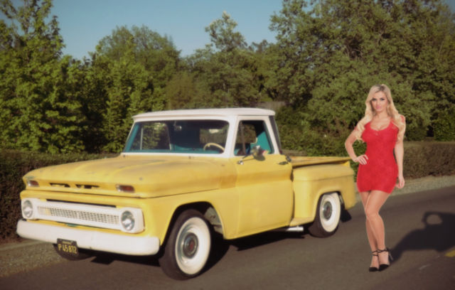 chevrolet c 10 custom cab step side pickup 1964 fauxtina yellow and white for sale visable and. Black Bedroom Furniture Sets. Home Design Ideas