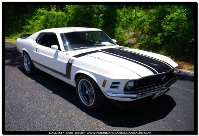 ford mustang 1970 white for sale 0t02l137525 39 70 boss 302 tribute new solid lifter 302 boss. Black Bedroom Furniture Sets. Home Design Ideas
