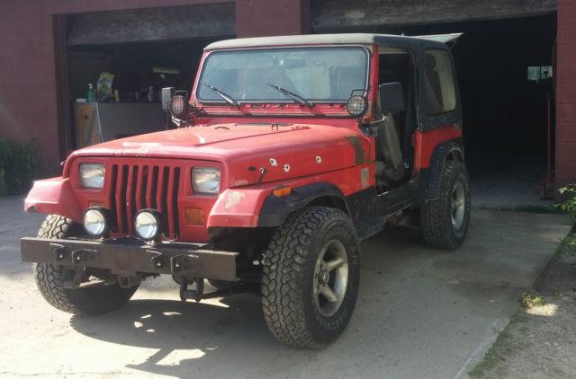 jeep wrangler 1991 red for sale 2j4fy19p1mj114716 91 jeep wrangler yj 5 speed manual 4 cyl. Black Bedroom Furniture Sets. Home Design Ideas