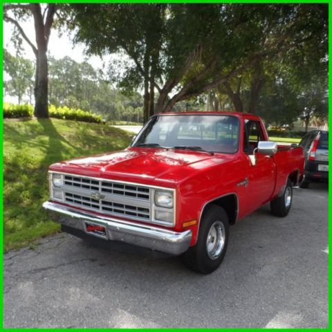 chevrolet c 10 pickup truck 1986 red for sale 2gcdc14h3g1207401 custom deluxe 86 chevy c10 350. Black Bedroom Furniture Sets. Home Design Ideas