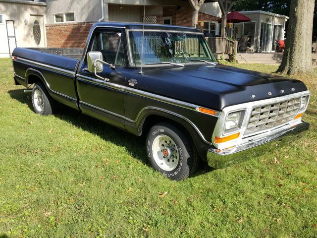 ford f 150 standard cab pickup 1979 black for sale f15gnee9164 f150 long bed 2wd matte black. Black Bedroom Furniture Sets. Home Design Ideas