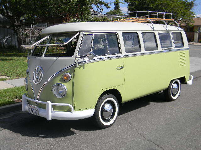 volkswagen bus vanagon van 1967 biege green for sale