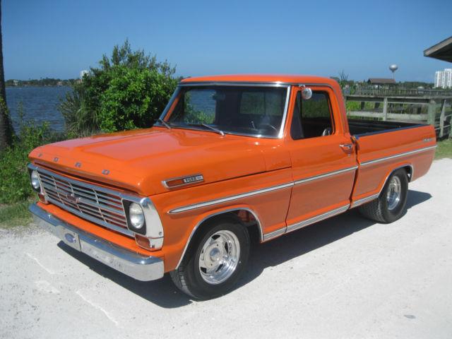 ford ranger pick up truck 1969 orange for sale no reserve ford f100 short bed pick up truck v8. Black Bedroom Furniture Sets. Home Design Ideas