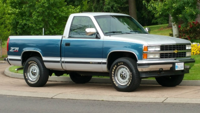chevrolet silverado 1500 cab & chassis 1990 blue & silver for sale